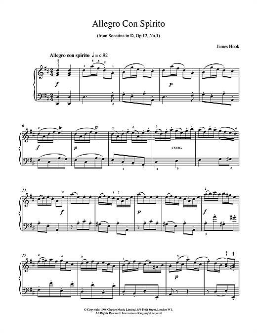 James Hook Allegro Con Spirito Op.12 No.1 sheet music notes and chords