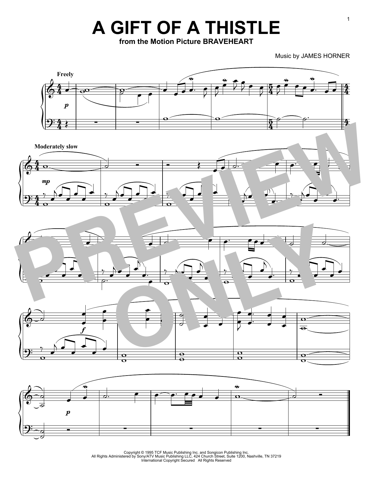 James Horner A Gift Of A Thistle sheet music notes and chords