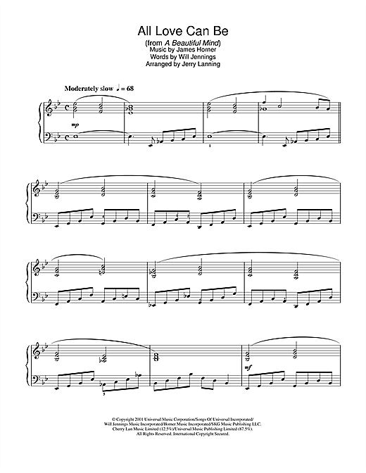 James Horner All Love Can Be (from A Beautiful Mind) sheet music notes and chords. Download Printable PDF.