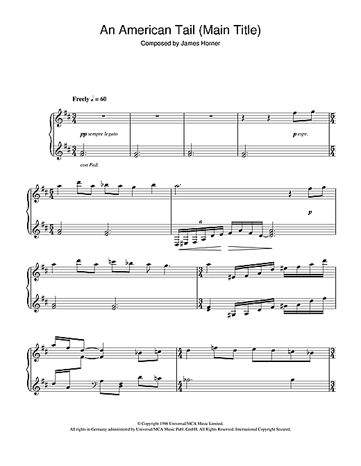 James Horner An American Tail (Main Title) sheet music notes and chords