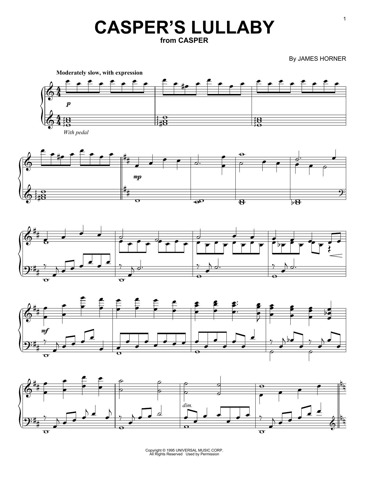 James Horner Casper's Lullaby sheet music notes and chords