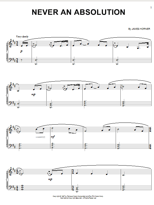 James Horner Never An Absolution (from Titanic) sheet music notes and chords