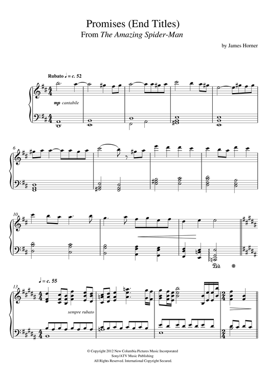 James Horner Promises (From 'The Amazing Spider-Man' End Titles) sheet music notes and chords