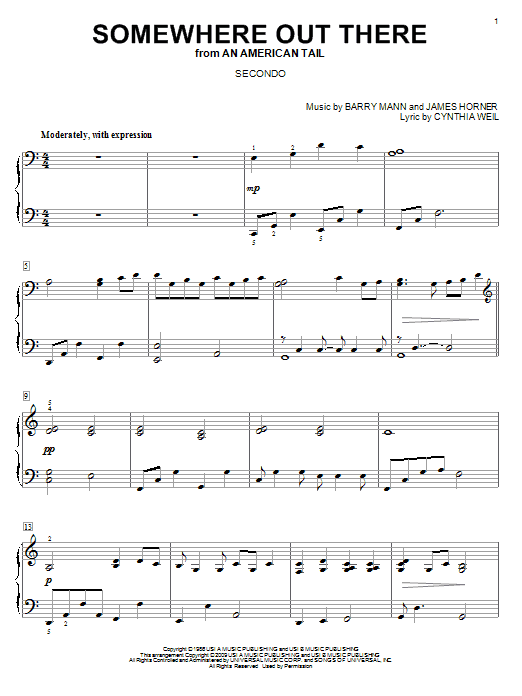 James Horner Somewhere Out There sheet music notes and chords. Download Printable PDF.
