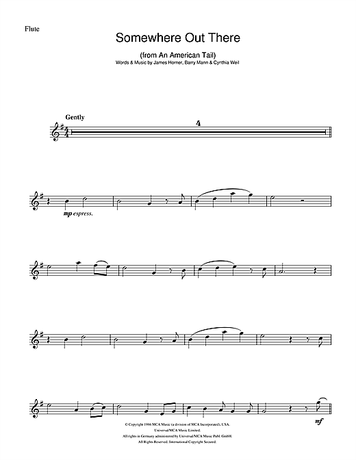 James Horner Somewhere Out There (from An American Tail) sheet music notes and chords