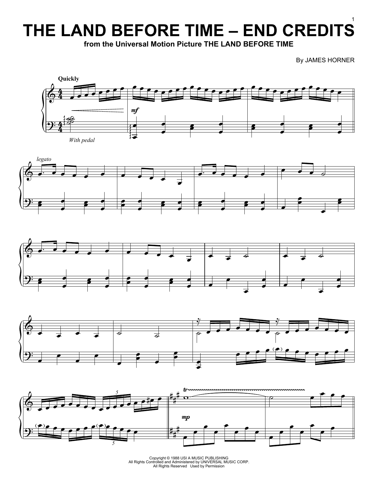James Horner The Land Before Time - End Credits sheet music notes and chords