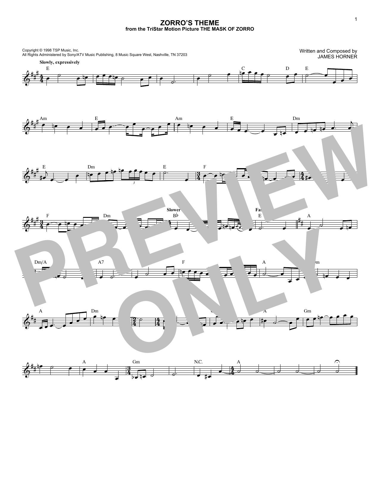 James Horner Zorro's Theme (from The Mask Of Zorro) sheet music notes and chords. Download Printable PDF.