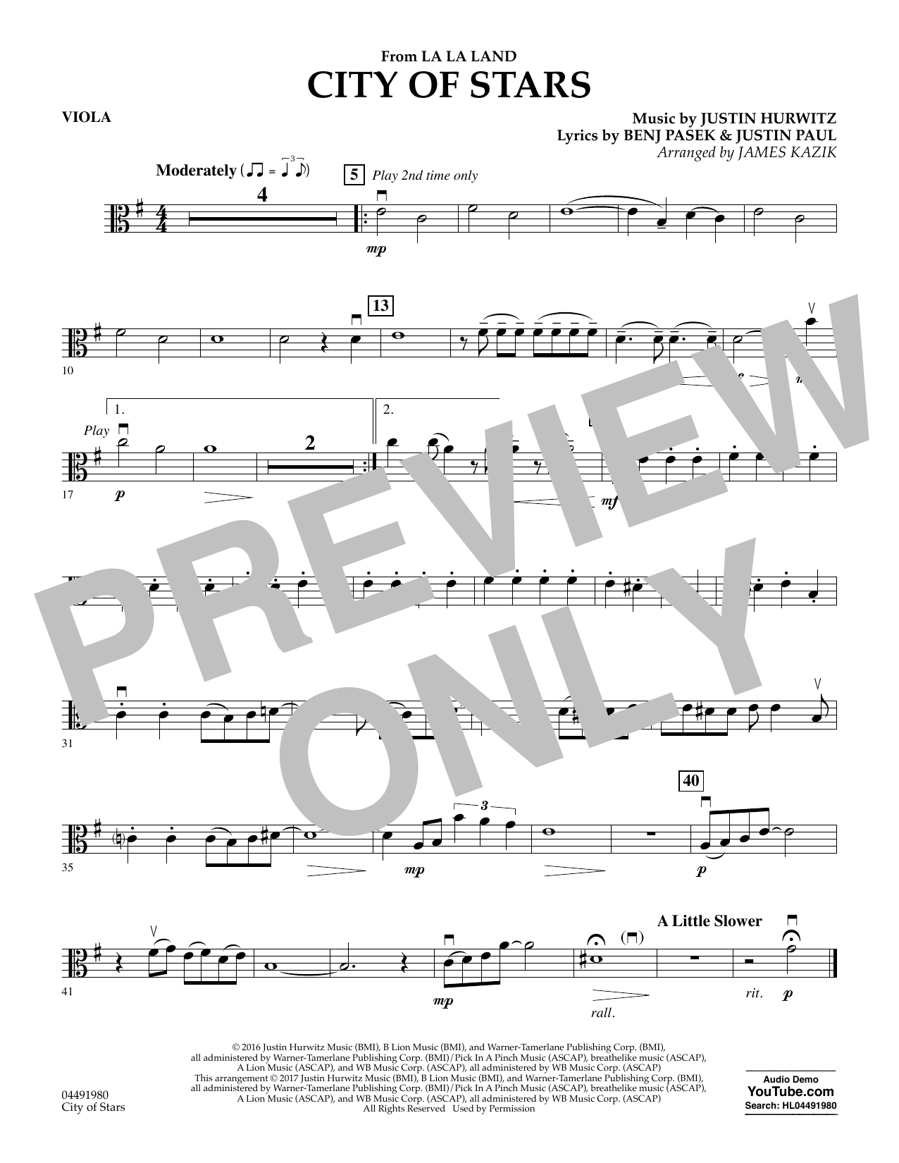 James Kazik City of Stars (from La La Land) - Viola sheet music notes and chords. Download Printable PDF.
