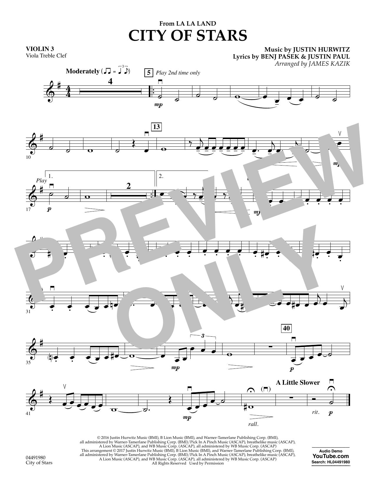 James Kazik City of Stars (from La La Land) - Violin 3 (Viola Treble Clef) sheet music notes and chords. Download Printable PDF.