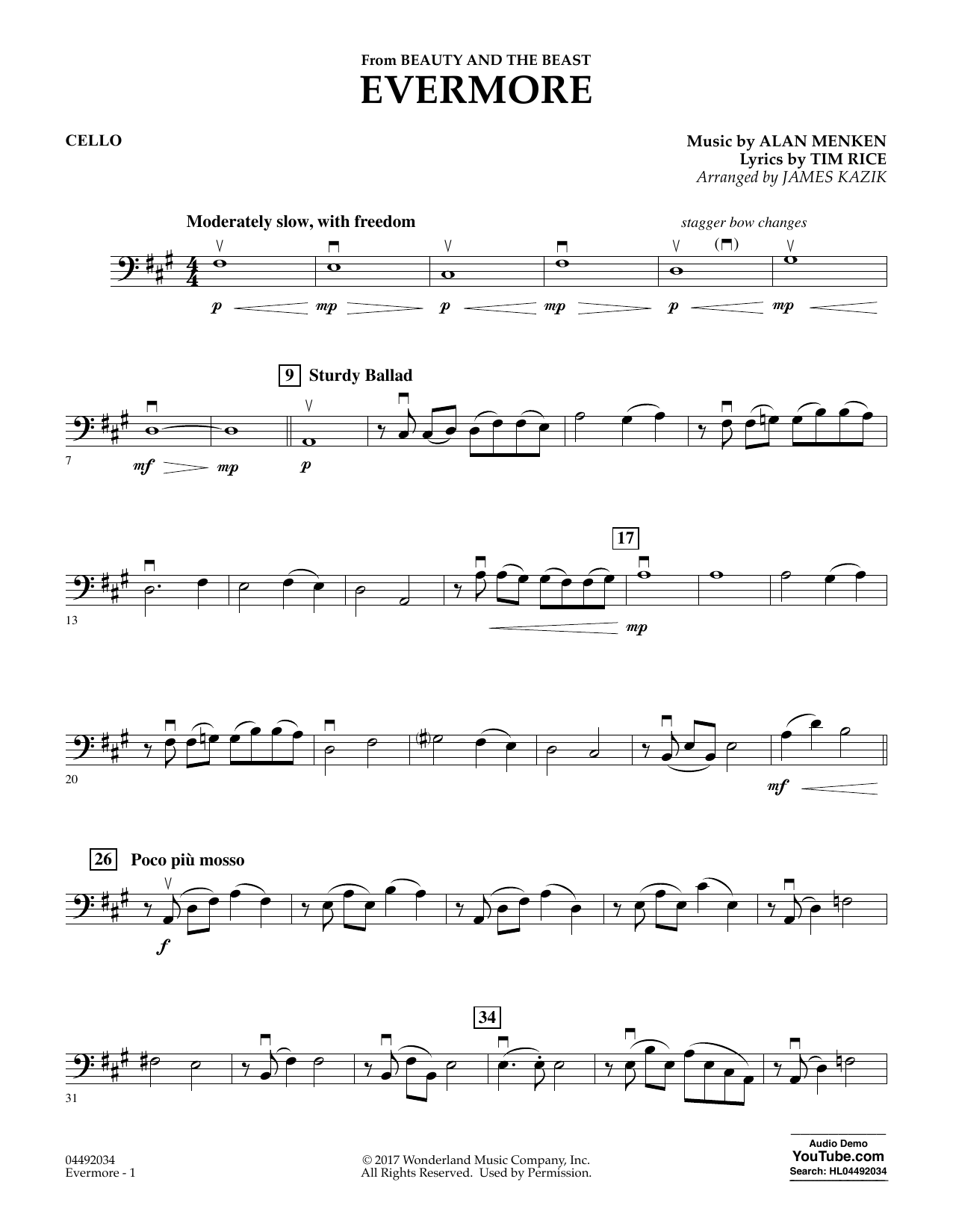 James Kazik Evermore (from Beauty and the Beast) - Cello sheet music notes and chords. Download Printable PDF.