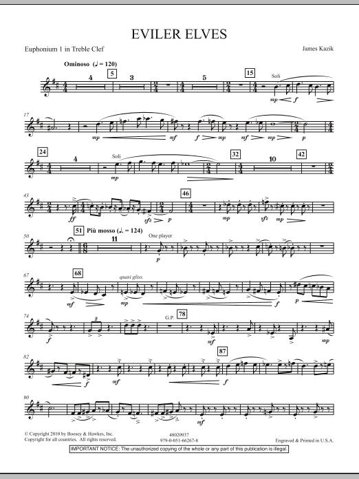 James Kazik Eviler Elves - Euphonium 1 T.C. sheet music notes and chords. Download Printable PDF.