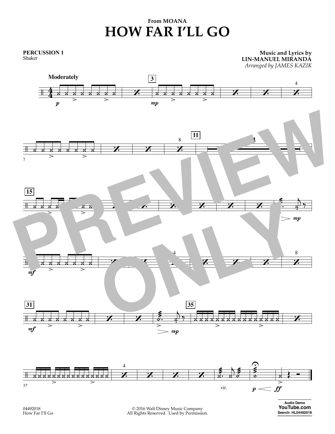 James Kazik How Far I'll Go (from Moana) - Percussion 1 sheet music notes and chords. Download Printable PDF.