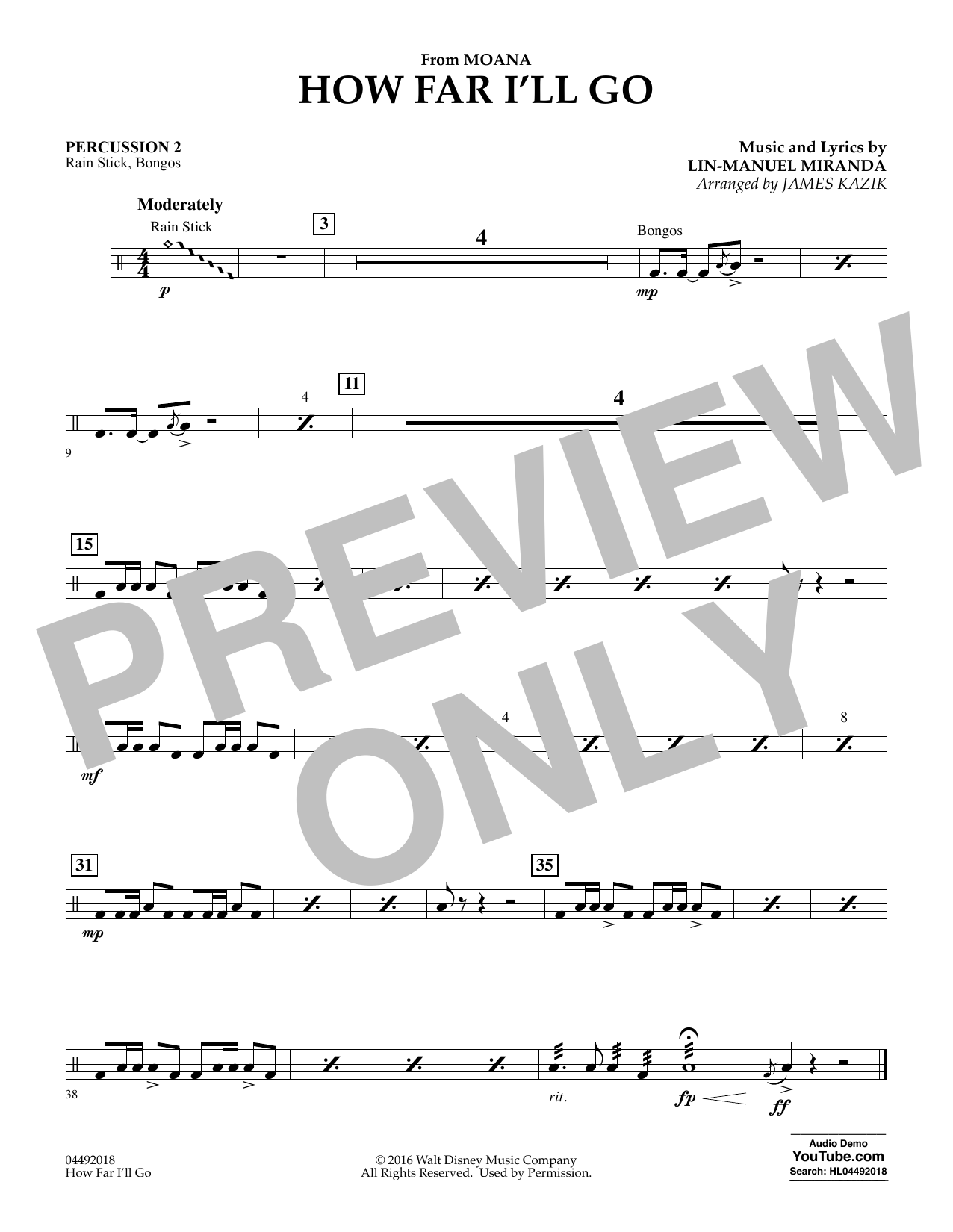 James Kazik How Far I'll Go (from Moana) - Percussion 2 sheet music notes and chords. Download Printable PDF.