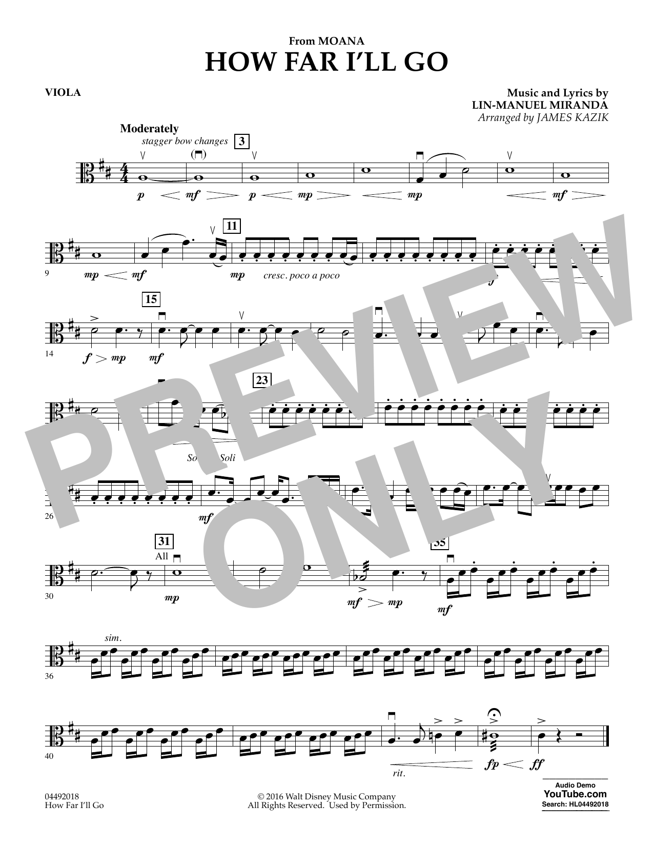 James Kazik How Far I'll Go (from Moana) - Viola sheet music notes and chords. Download Printable PDF.