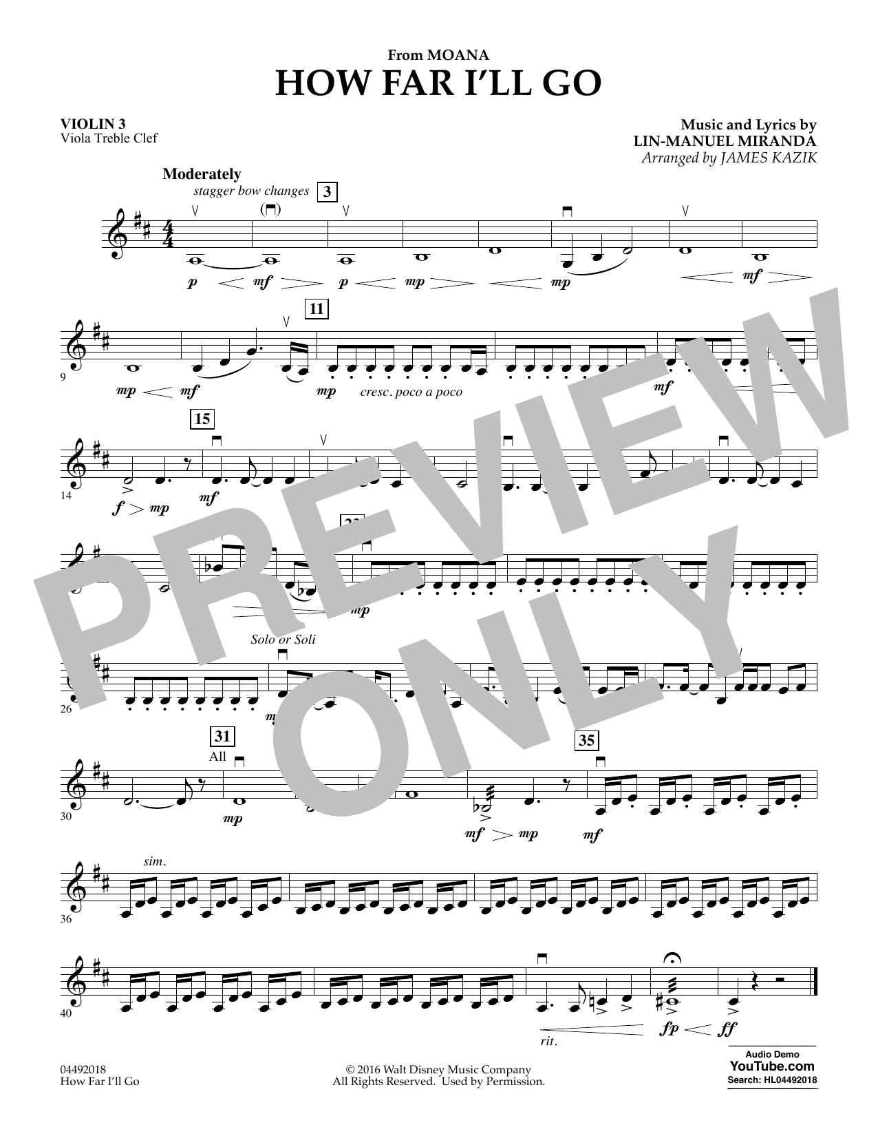 James Kazik How Far I'll Go (from Moana) - Violin 3 (Viola Treble Clef) sheet music notes and chords. Download Printable PDF.