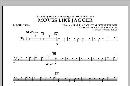 James Kazik Moves Like Jagger - Bass sheet music notes and chords. Download Printable PDF.