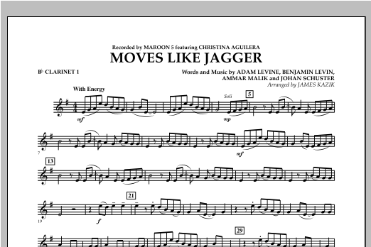 James Kazik Moves Like Jagger - Bb Clarinet 1 sheet music notes and chords. Download Printable PDF.
