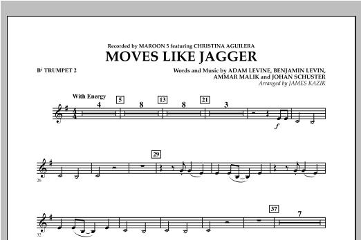 James Kazik Moves Like Jagger - Bb Trumpet 2 sheet music notes and chords. Download Printable PDF.