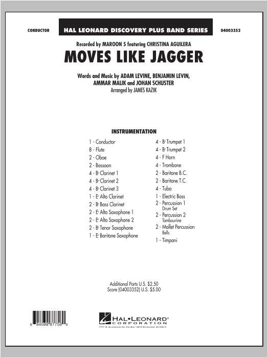 James Kazik Moves Like Jagger - Conductor Score (Full Score) sheet music notes and chords. Download Printable PDF.