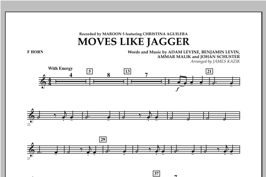 James Kazik Moves Like Jagger - F Horn sheet music notes and chords. Download Printable PDF.
