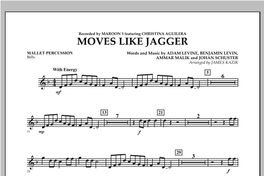 James Kazik Moves Like Jagger - Mallet Percussion sheet music notes and chords. Download Printable PDF.