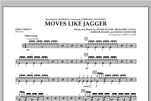 James Kazik Moves Like Jagger - Percussion 1 sheet music notes and chords. Download Printable PDF.