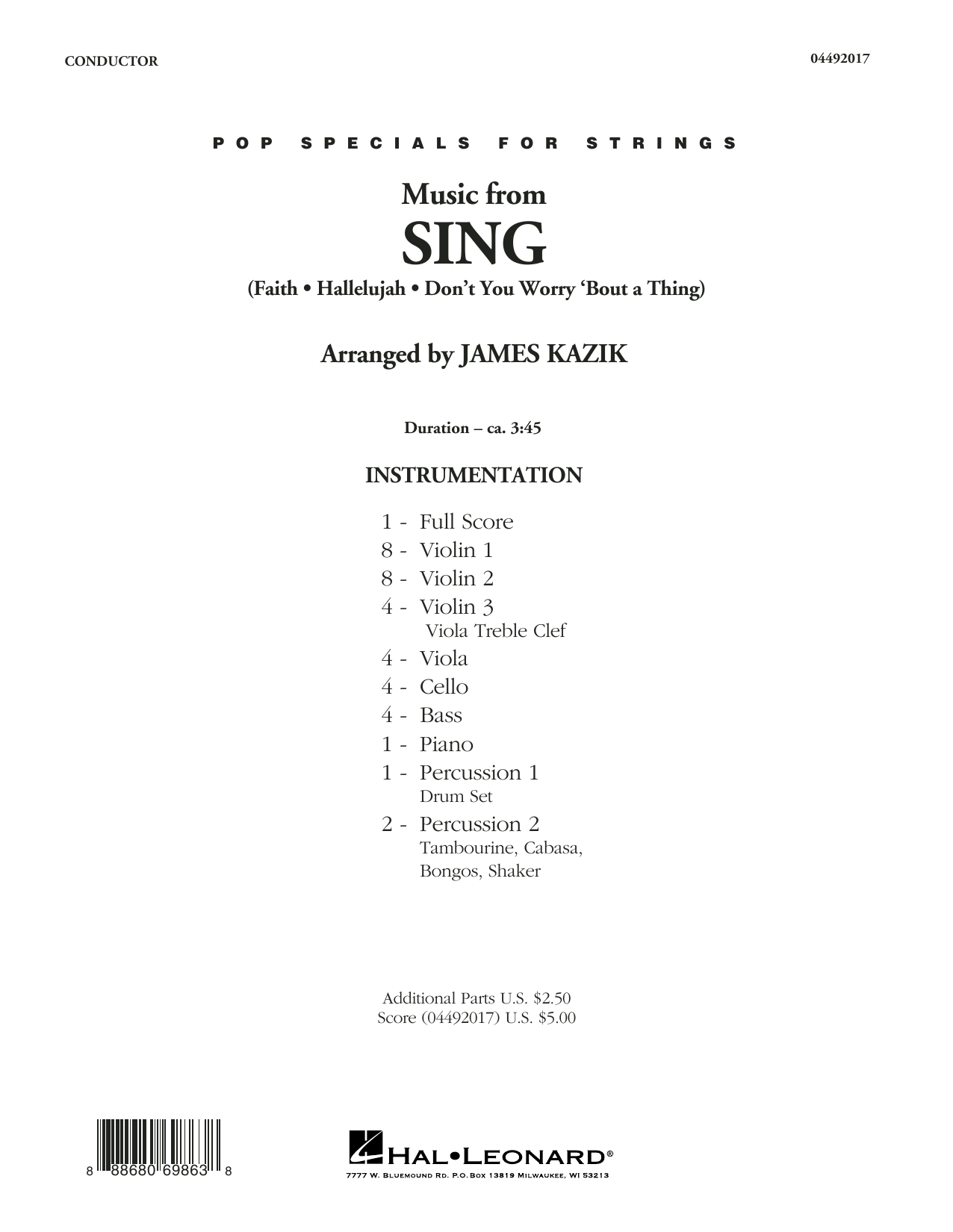 James Kazik Music from Sing - Conductor Score (Full Score) sheet music notes and chords. Download Printable PDF.