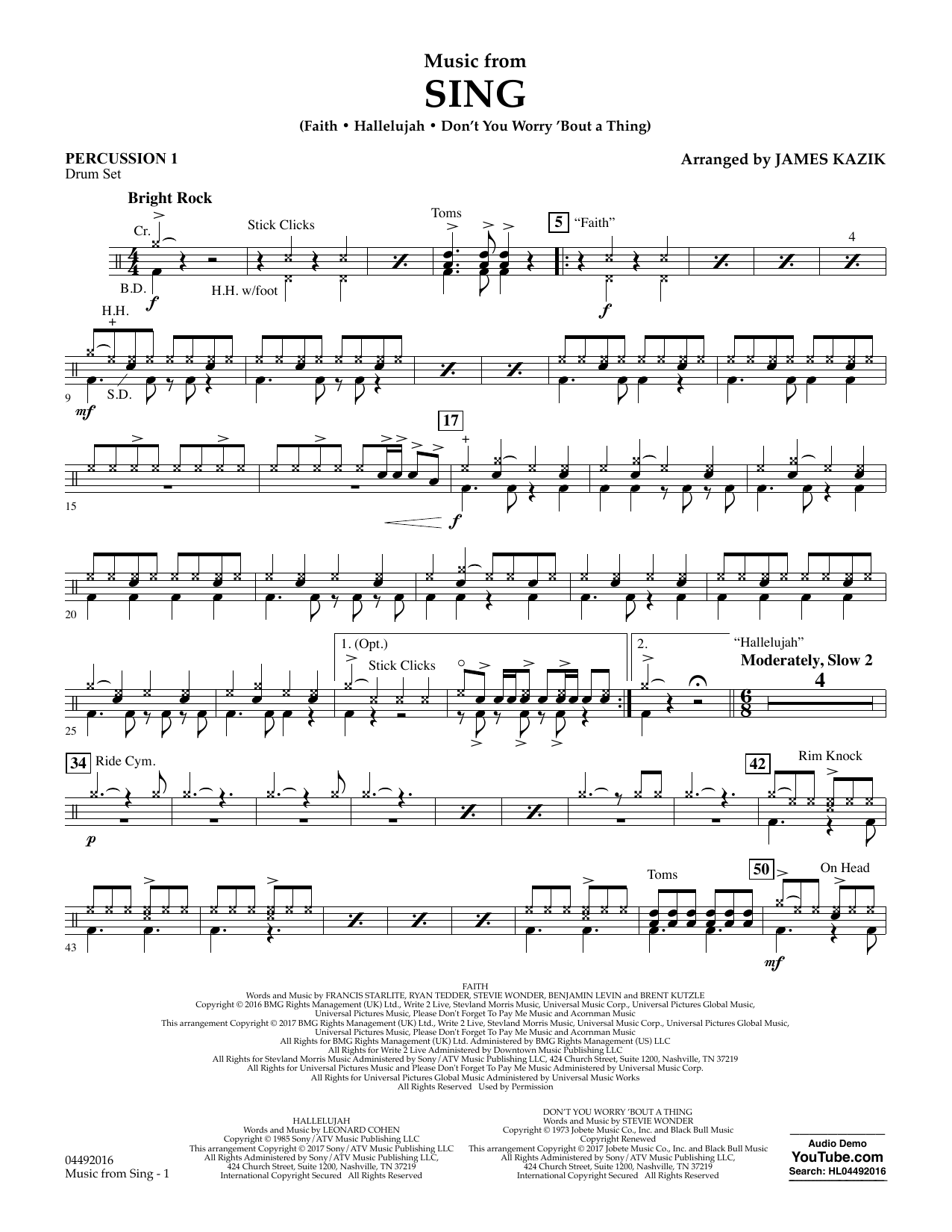 James Kazik Music from Sing - Percussion 1 sheet music notes and chords. Download Printable PDF.