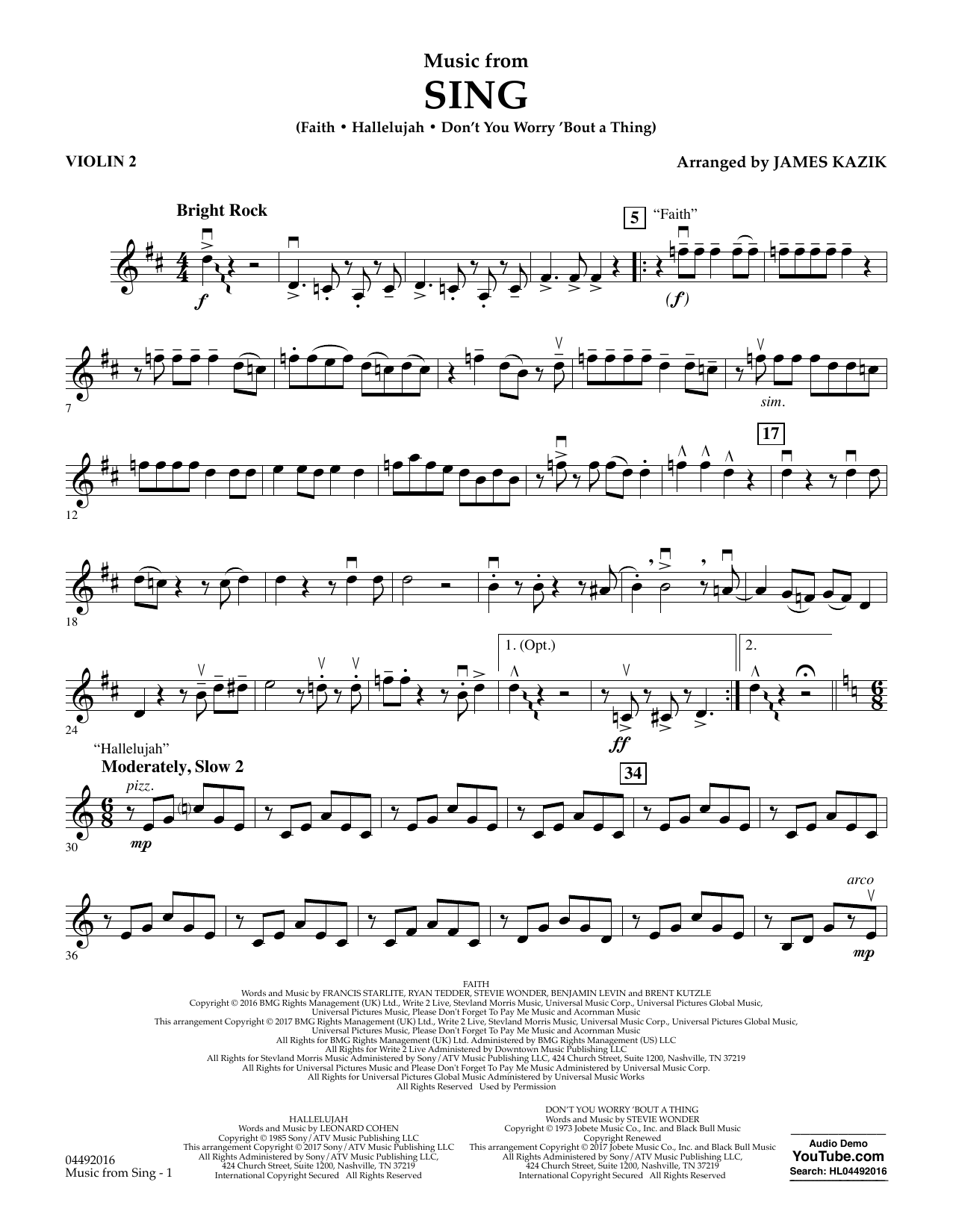 James Kazik Music from Sing - Violin 2 sheet music notes and chords. Download Printable PDF.