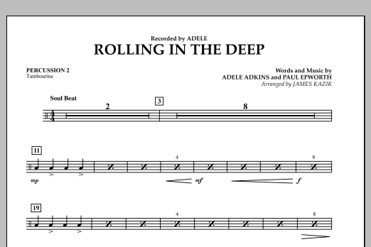 James Kazik Rolling In The Deep - Percussion 2 sheet music notes and chords. Download Printable PDF.