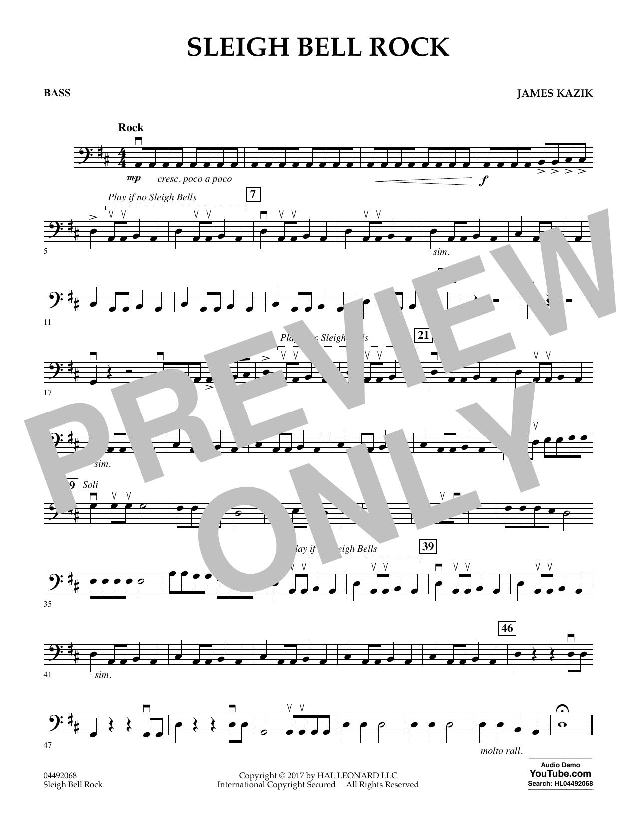 James Kazik Sleigh Bell Rock - Bass sheet music notes and chords. Download Printable PDF.