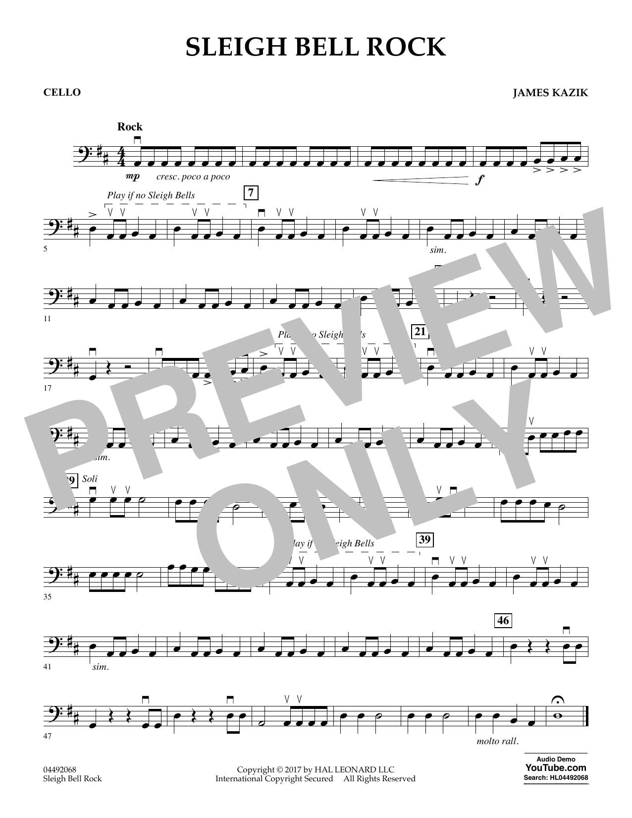 James Kazik Sleigh Bell Rock - Cello sheet music notes and chords. Download Printable PDF.