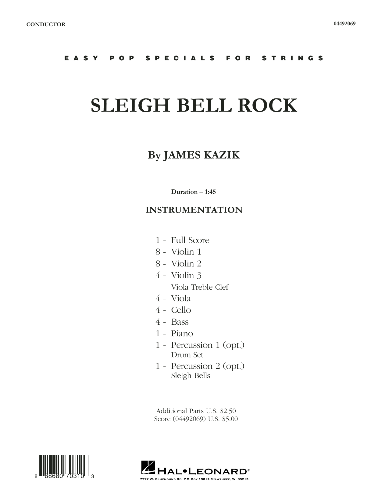 James Kazik Sleigh Bell Rock - Conductor Score (Full Score) sheet music notes and chords. Download Printable PDF.