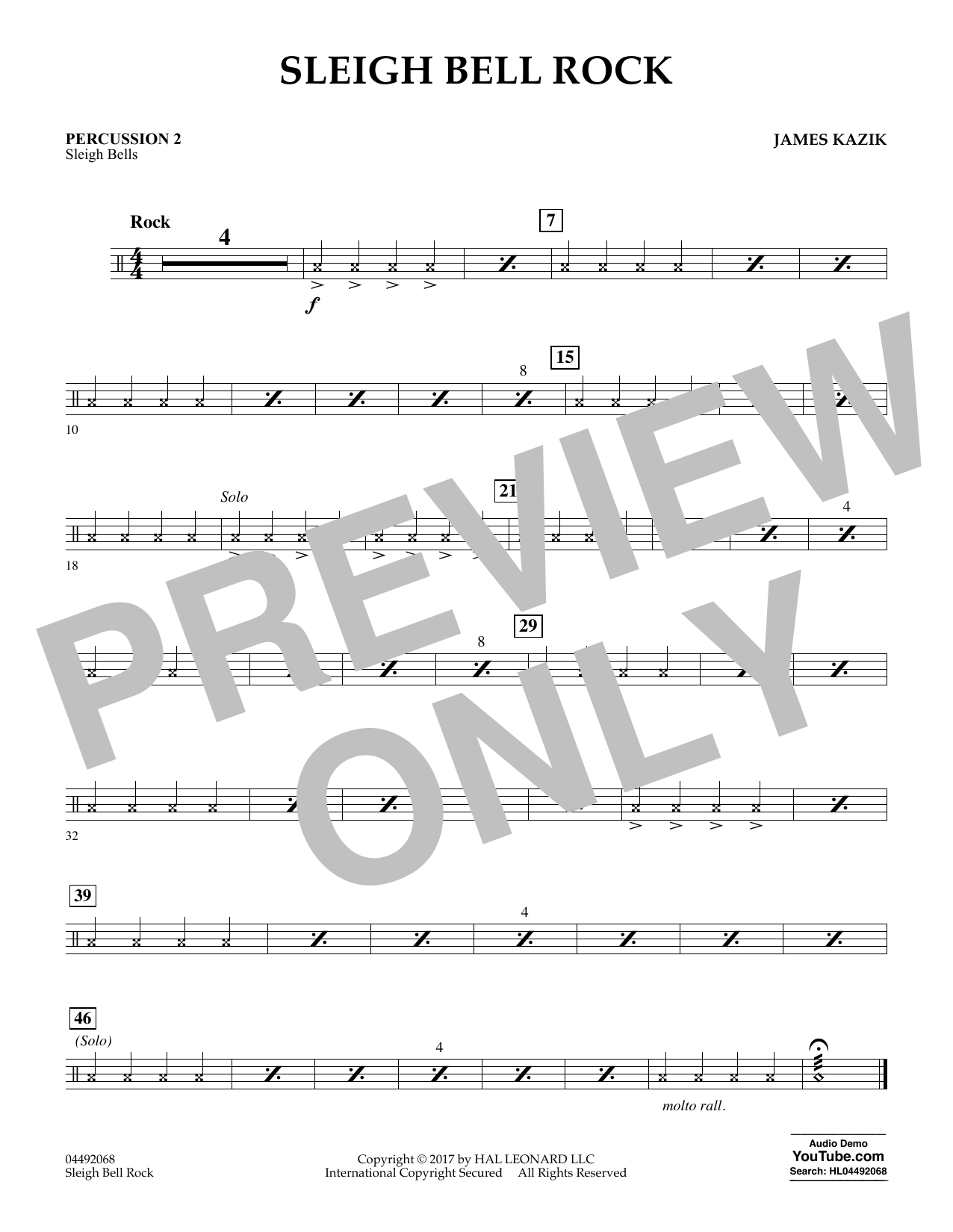 James Kazik Sleigh Bell Rock - Percussion 2 sheet music notes and chords. Download Printable PDF.