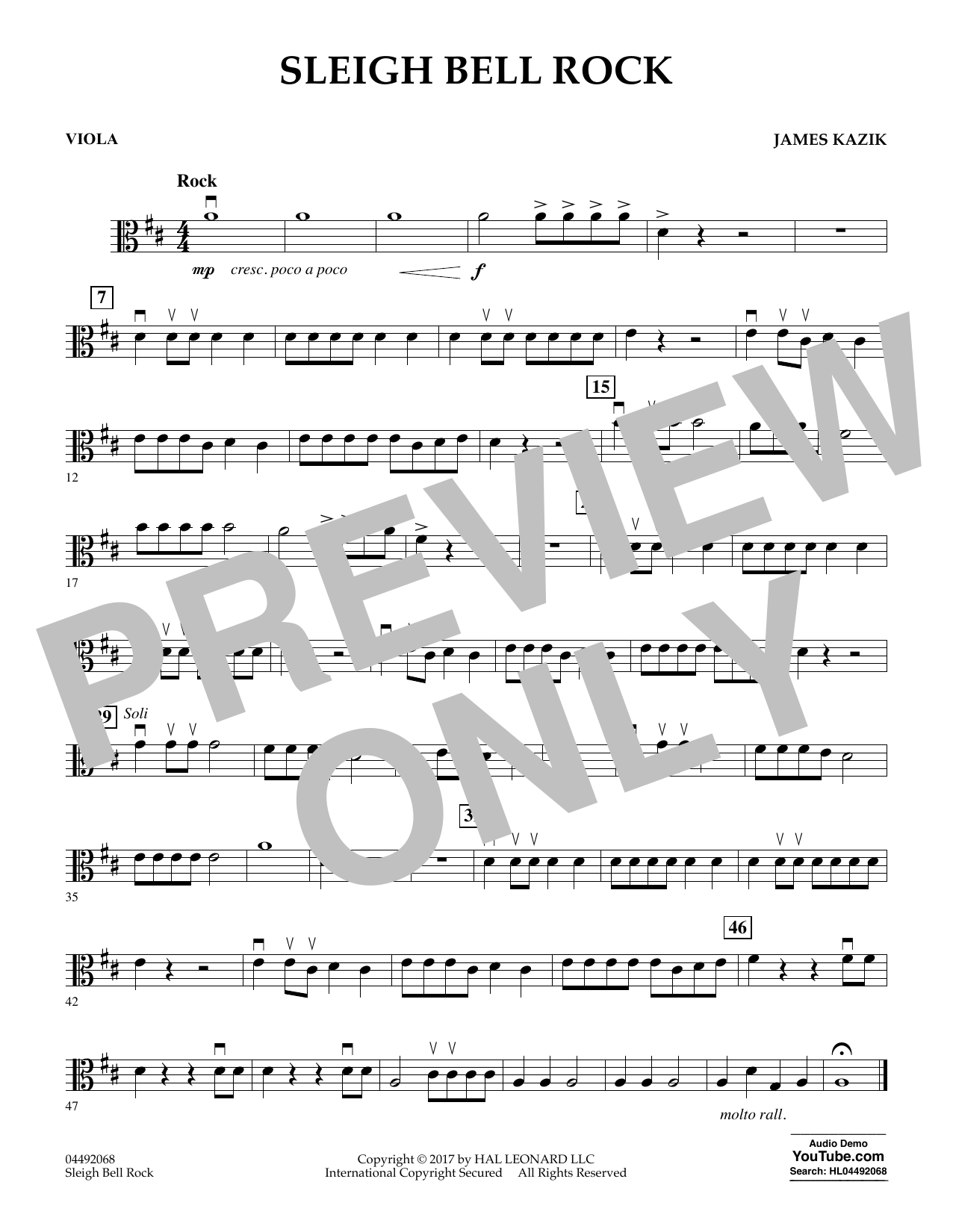 James Kazik Sleigh Bell Rock - Viola sheet music notes and chords. Download Printable PDF.