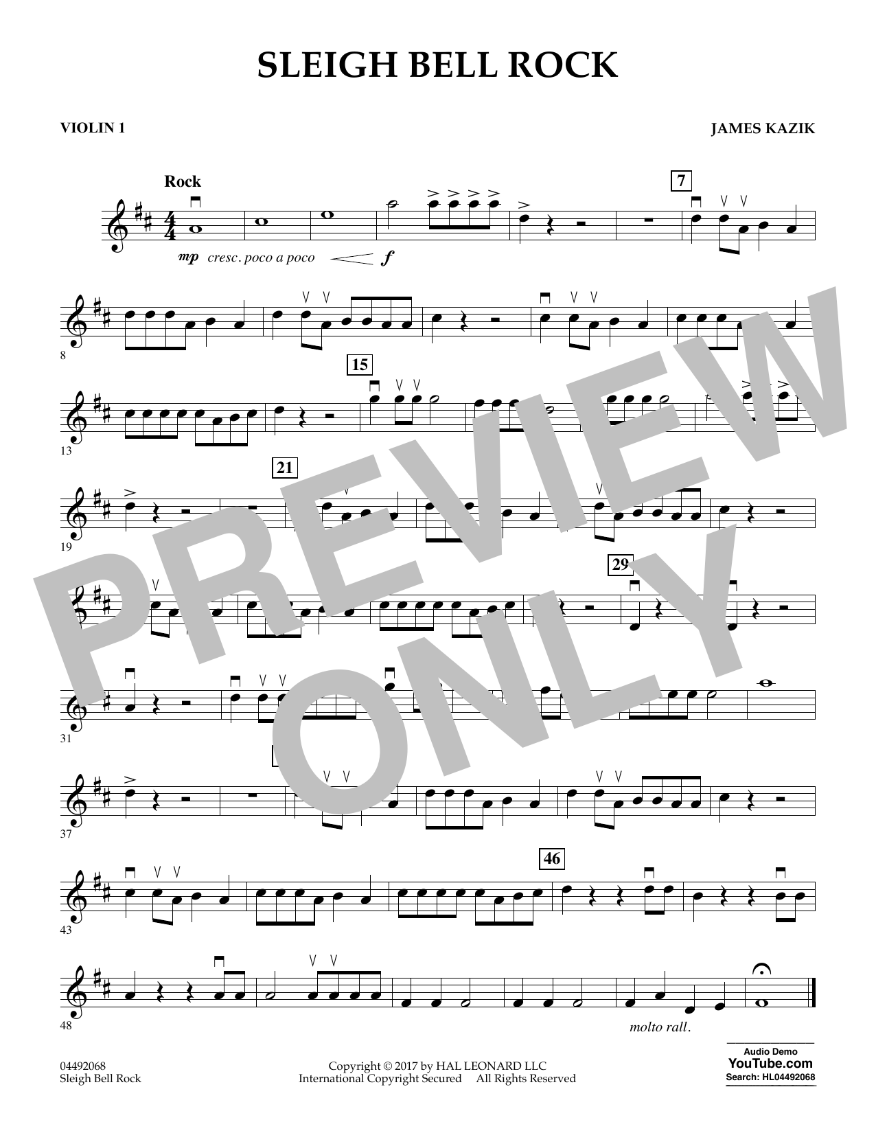 James Kazik Sleigh Bell Rock - Violin 1 sheet music notes and chords. Download Printable PDF.
