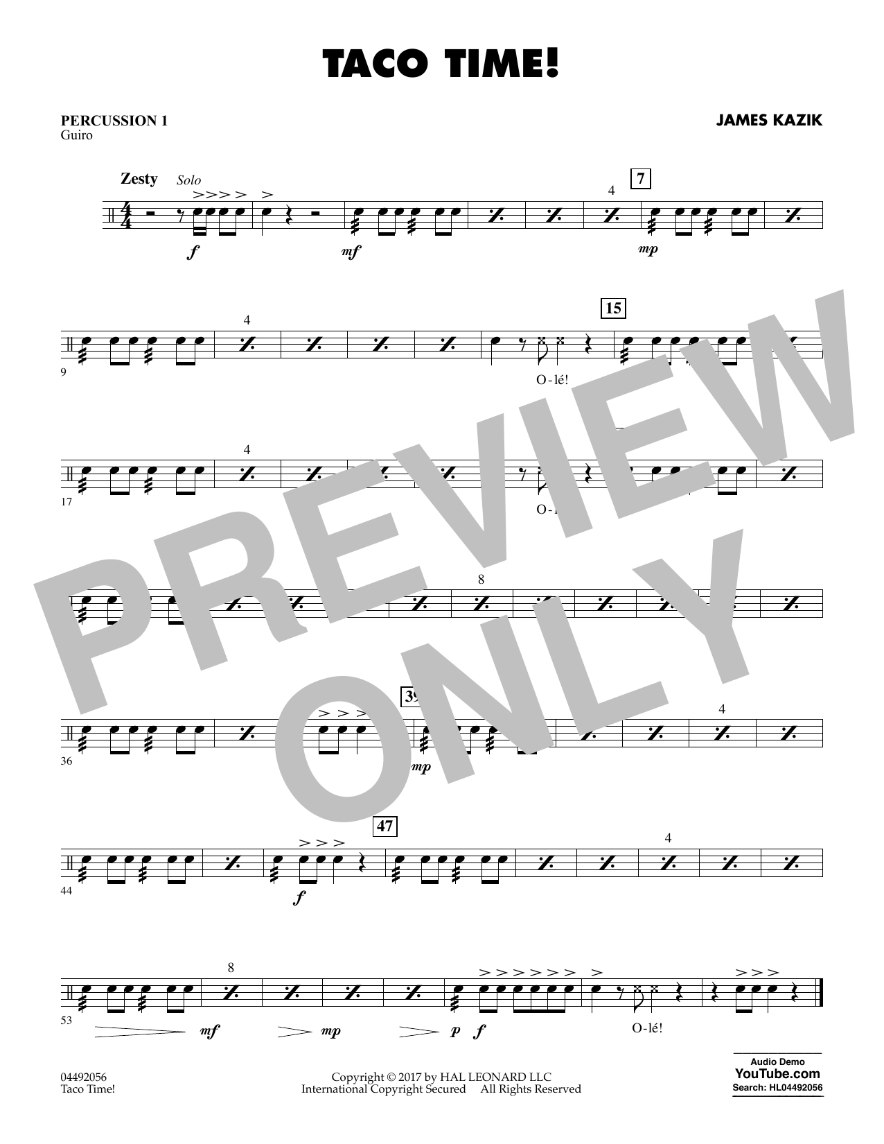 James Kazik Taco Time! - Percussion 1 sheet music notes and chords. Download Printable PDF.