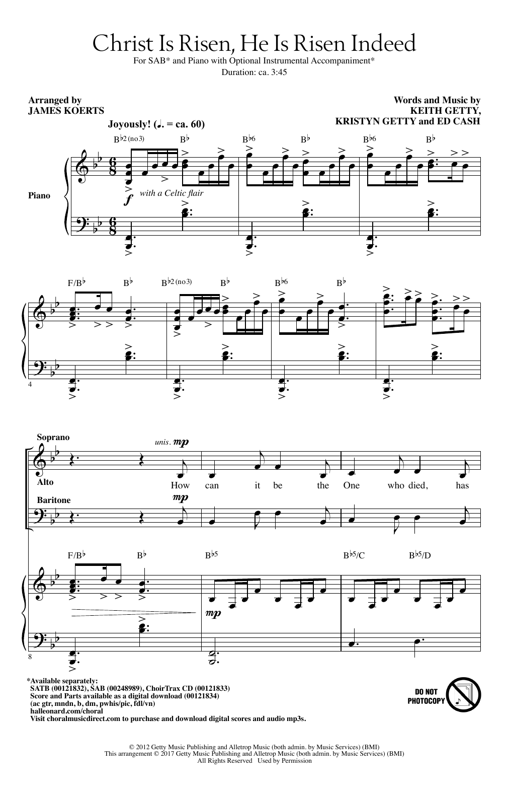James Koerts Christ Is Risen, He Is Risen Indeed sheet music notes and chords. Download Printable PDF.