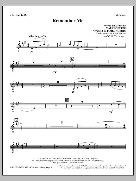 James Koerts Remember Me - Bb Clarinet sheet music notes and chords. Download Printable PDF.