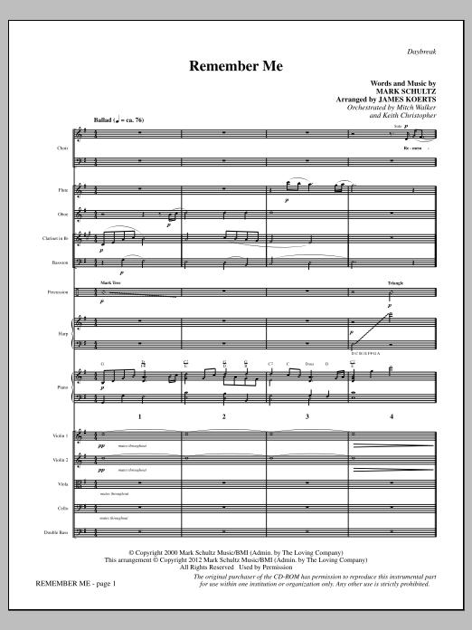James Koerts Remember Me - Full Score sheet music notes and chords. Download Printable PDF.
