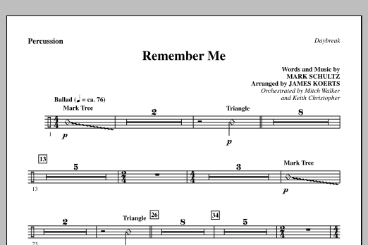 James Koerts Remember Me - Percussion sheet music notes and chords. Download Printable PDF.