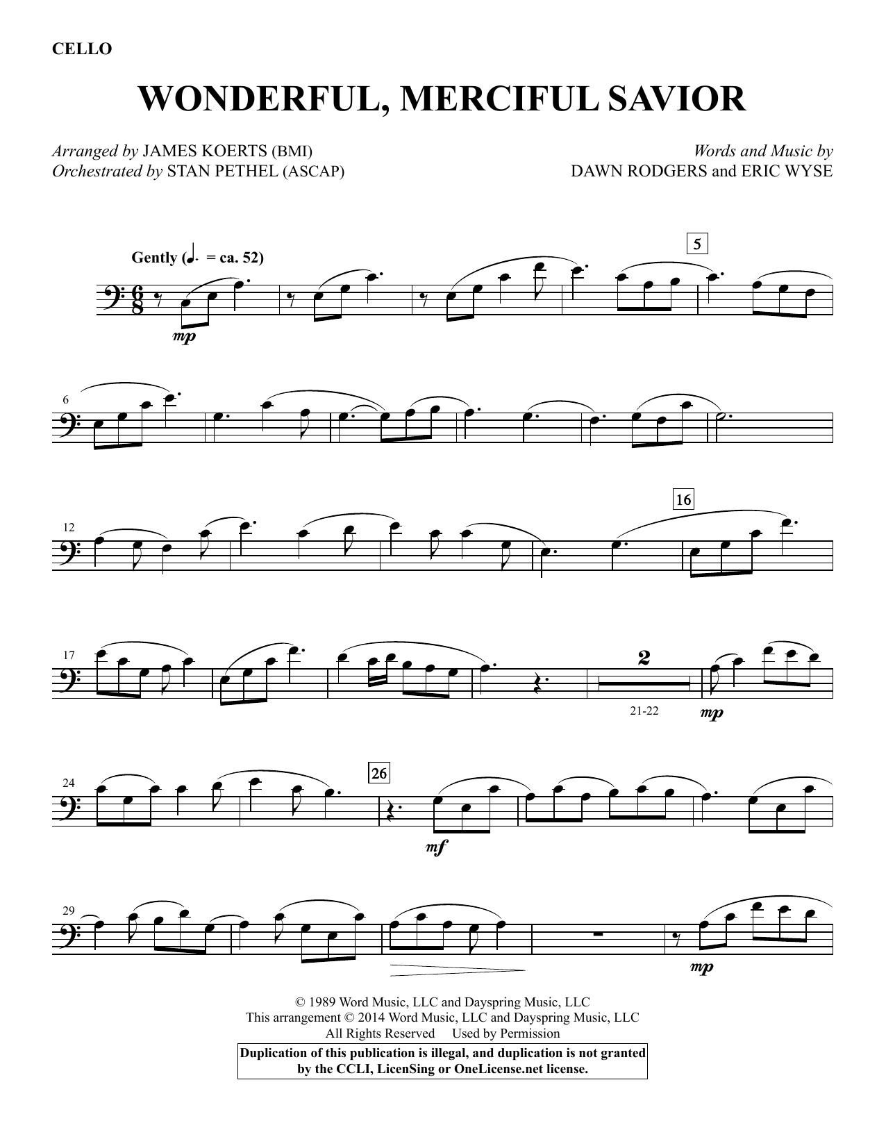 James Koerts Wonderful, Merciful Savior - Cello sheet music notes and chords. Download Printable PDF.