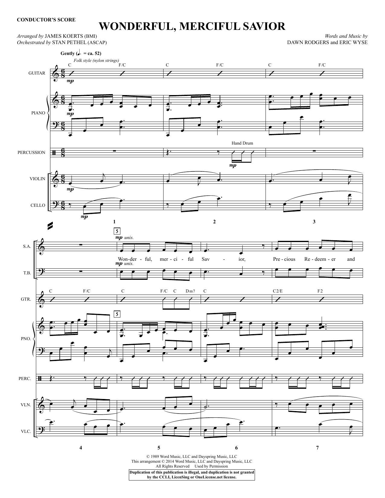 James Koerts Wonderful, Merciful Savior - Score sheet music notes and chords. Download Printable PDF.