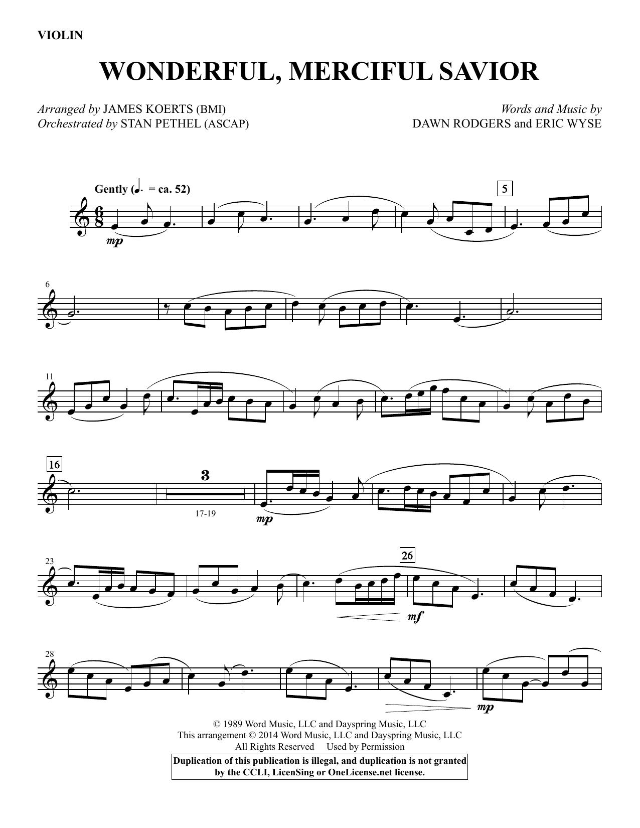 James Koerts Wonderful, Merciful Savior - Violin sheet music notes and chords. Download Printable PDF.