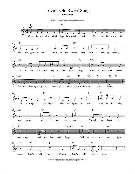 James L. Molloy Love's Old Sweet Song sheet music notes and chords