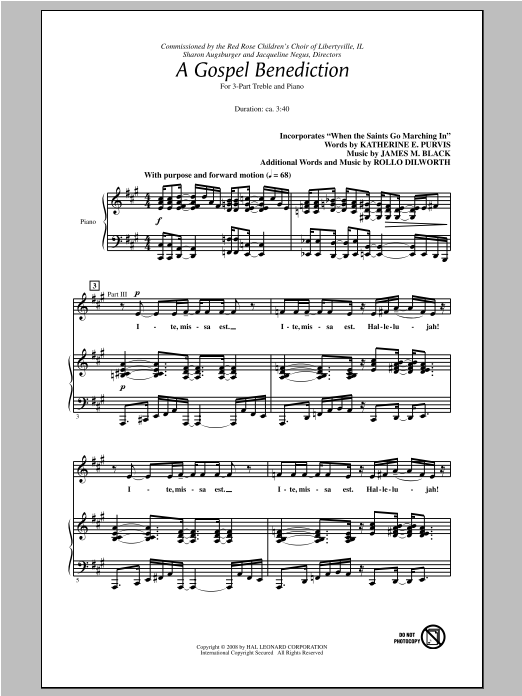 James M. Black A Gospel Benediction (arr. Rollo Dilworth) sheet music notes and chords
