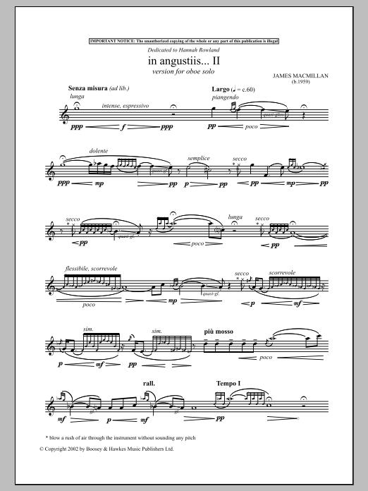 James MacMillan In Angustiis sheet music notes and chords
