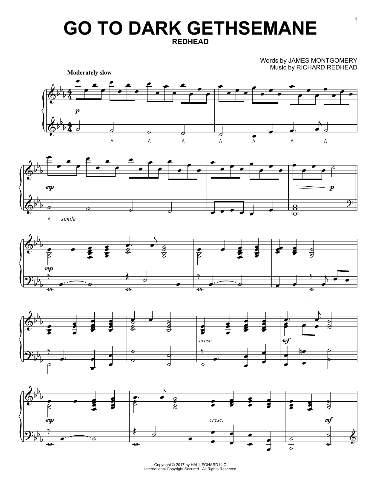 James Montgomery Go To Dark Gethsemane sheet music notes and chords. Download Printable PDF.
