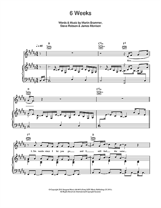 James Morrison 6 Weeks sheet music notes and chords