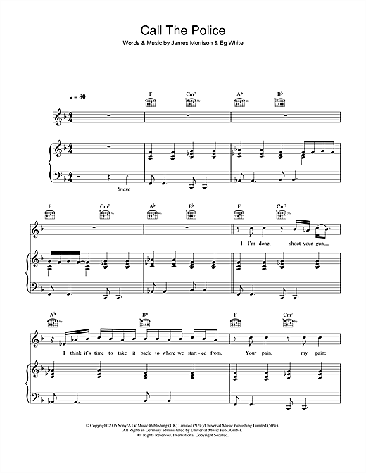 James Morrison Call The Police sheet music notes and chords. Download Printable PDF.
